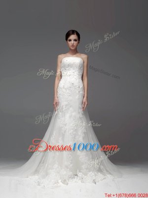 Nice Sleeveless Lace Zipper Bridal Gown with White Brush Train