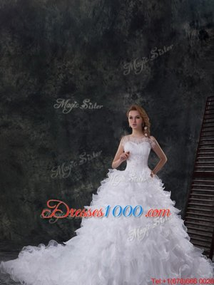 Classical Scoop Sleeveless Chapel Train Lace Up Beading and Ruffles Wedding Gowns