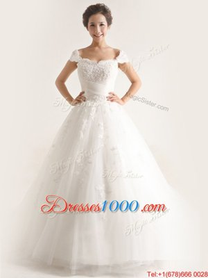 Sweetheart Cap Sleeves Wedding Dresses With Brush Train Lace and Appliques White Tulle