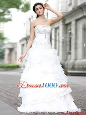 White A-line Strapless Sleeveless Organza Floor Length Lace Up Beading and Ruffles and Ruffled Layers Wedding Gown