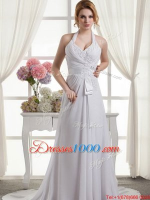 Elegant White A-line V-neck Sleeveless Organza With Train Court Train Lace Up Beading and Appliques and Ruffles and Pick Ups Wedding Dress