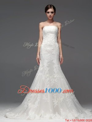 Dramatic White Lace Up Wedding Dress Lace Sleeveless With Brush Train