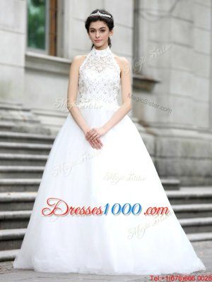 Glorious White Sleeveless Lace Floor Length Wedding Gown