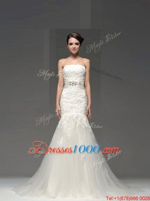 Luxurious Mermaid White Strapless Side Zipper Lace and Appliques Wedding Dress Brush Train Sleeveless