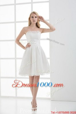 Mini Length A-line Sleeveless White Wedding Gowns Lace Up