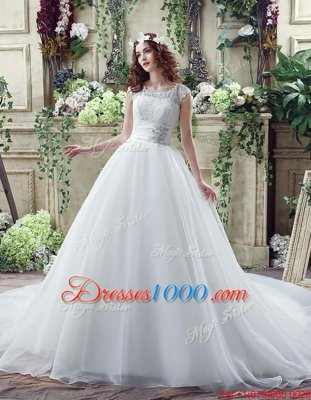 White Organza and Lace Zipper Scalloped Sleeveless Wedding Gown Court Train Beading and Lace