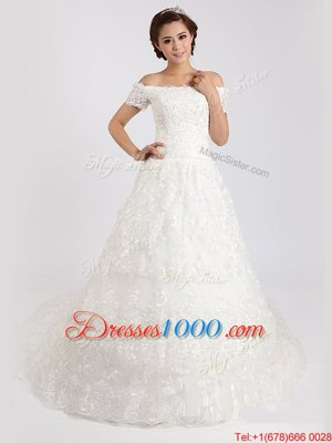 Comfortable White A-line Off The Shoulder Short Sleeves Lace With Train Court Train Lace Up Lace Wedding Gown