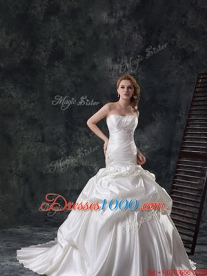 Mermaid White Strapless Neckline Beading and Ruching and Pick Ups Wedding Gowns Sleeveless Lace Up