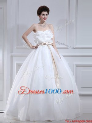 Elegant With Train Empire Sleeveless White Wedding Dress Court Train Lace Up