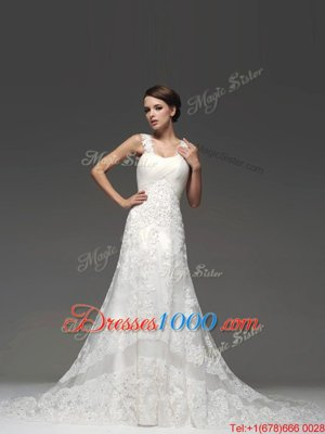 Dramatic Lace Up Wedding Gowns White and In for Wedding Party with Lace and Appliques Brush Train