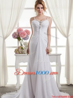 High Class Spaghetti Straps Sleeveless Wedding Gown Brush Train Beading and Ruching White Chiffon