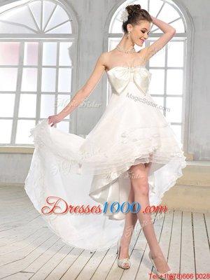 Delicate White Sleeveless High Low Bowknot Zipper Wedding Dresses