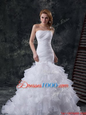 Fancy White Lace Up Wedding Gown Lace and Appliques Cap Sleeves With Train Chapel Train