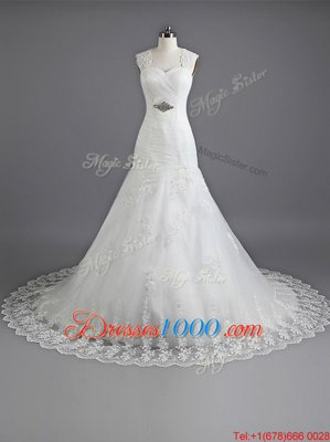 Mermaid With Train White Wedding Gown Sweetheart Sleeveless Chapel Train Lace Up