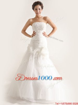 Shining White Tulle Zipper Wedding Dresses Sleeveless Sweep Train Lace and Ruching and Hand Made Flower