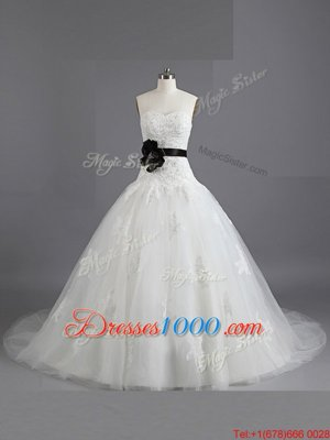 Smart Tulle Sweetheart Sleeveless Court Train Lace Up Beading and Appliques and Belt Wedding Dress in White
