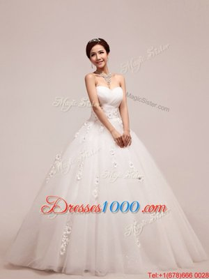 Affordable Tulle Sleeveless Floor Length Bridal Gown and Appliques and Ruching and Hand Made Flower
