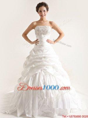 Strapless Sleeveless Wedding Gown With Train Court Train Beading and Pick Ups White Taffeta