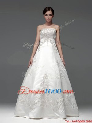 Fitting Sleeveless Floor Length Embroidery Lace Up Wedding Dress with White