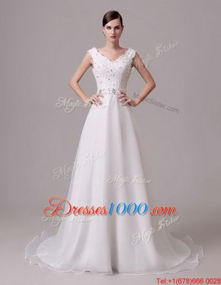 Sleeveless Brush Train Beading and Sashes|ribbons Clasp Handle Wedding Dress