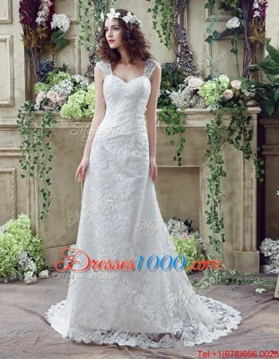 Amazing Strapless Sleeveless Wedding Gown Floor Length Lace and Appliques and Ruching White Tulle
