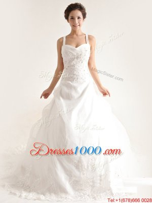 Captivating Lace Sleeveless With Train Wedding Dresses Brush Train and Lace and Appliques and Hand Made Flower