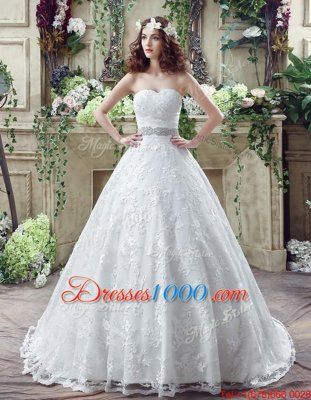 Nice White Sweetheart Lace Up Beading and Appliques Wedding Gowns Brush Train Sleeveless