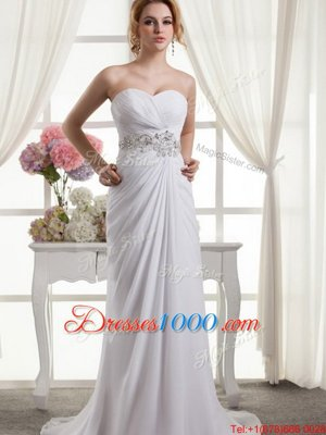Cap Sleeves Tulle With Train Chapel Train Backless Bridal Gown in White for with Beading and Ruffles