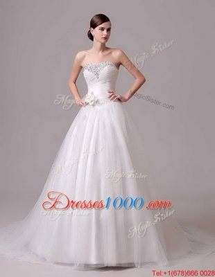 Popular White A-line Beading and Ruffled Layers Wedding Dress Lace Up Tulle Sleeveless With Train