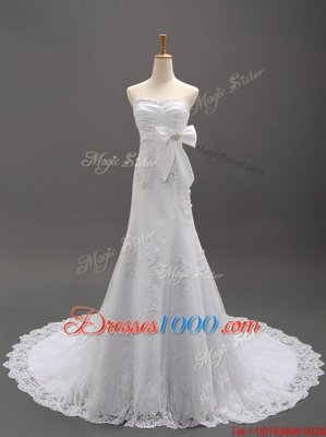 Dramatic Sleeveless Brush Train Lace Up With Train Beading and Lace and Appliques and Bowknot Bridal Gown