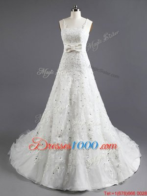 Discount White Empire Organza Square Sleeveless Beading and Appliques and Bowknot With Train Lace Up Wedding Gown Chapel Train