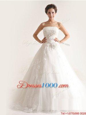 Enchanting Sleeveless Sweep Train Lace Up Beading and Ruffles Wedding Dress