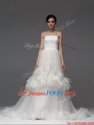 Fitting Tulle Sleeveless With Train Wedding Dresses Brush Train and Ruffled Layers and Ruching