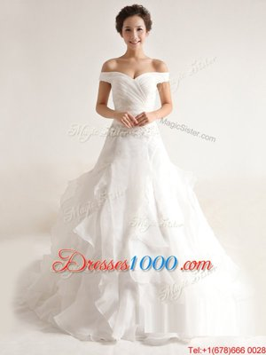 Chic Organza Off The Shoulder Sleeveless Court Train Zipper Beading and Ruffles Wedding Gowns in White