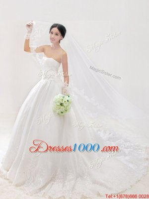 Decent White Sleeveless Chapel Train Lace and Appliques With Train Wedding Gowns