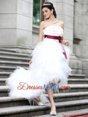 Organza Sleeveless High Low Wedding Gowns and Ruffles and Belt and Hand Made Flower