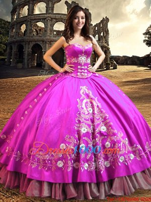 Captivating Satin Sleeveless Floor Length Quinceanera Dress and Embroidery