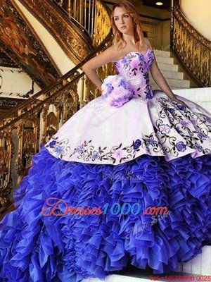 High Class Floor Length Ball Gowns Sleeveless Blue And White Quinceanera Gowns Lace Up