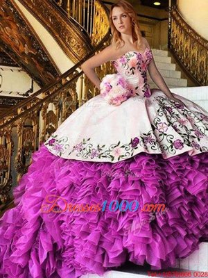 Dynamic Floor Length Ball Gowns Sleeveless Pink And White Ball Gown Prom Dress Lace Up