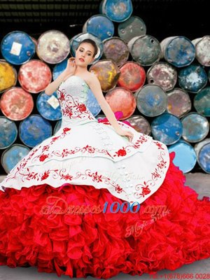 Appliques and Embroidery and Ruffles Quinceanera Dresses White And Red Lace Up Sleeveless Floor Length