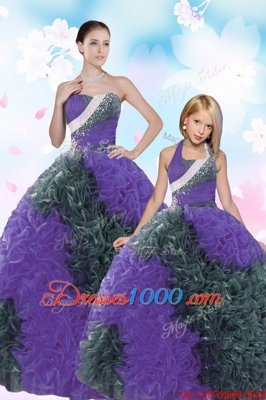Sequins Pick Ups Floor Length Multi-color Sweet 16 Quinceanera Dress Sweetheart Sleeveless Lace Up