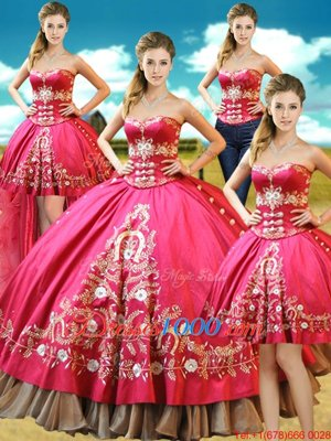 Four Piece Hot Pink Ball Gowns Sweetheart Sleeveless Taffeta Floor Length Lace Up Beading and Embroidery Sweet 16 Dress
