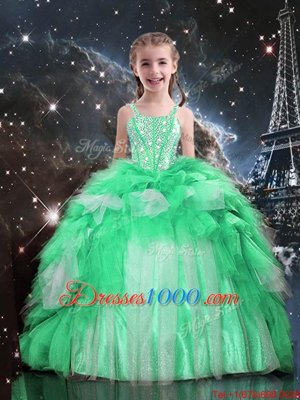 Most Popular Floor Length Apple Green Child Pageant Dress Spaghetti Straps Sleeveless Lace Up