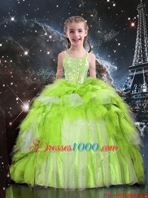 Enchanting Floor Length Lace Up Girls Pageant Dresses Apple Green and In for Party and Wedding Party with Beading and Ruffled Layers