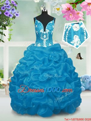 Beading and Pick Ups Little Girl Pageant Dress Baby Blue Lace Up Sleeveless Floor Length