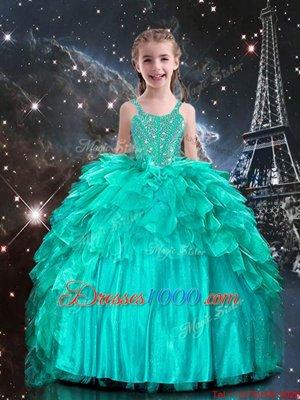 Modern Strapless Sleeveless Organza Little Girls Pageant Dress Beading and Ruffles Lace Up