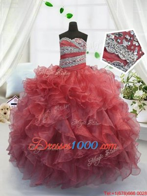 Coral Red Sleeveless Floor Length Beading and Ruffles Lace Up Little Girls Pageant Dress
