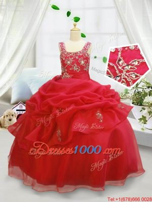Custom Fit Pick Ups Straps Sleeveless Lace Up Little Girls Pageant Gowns Coral Red Organza