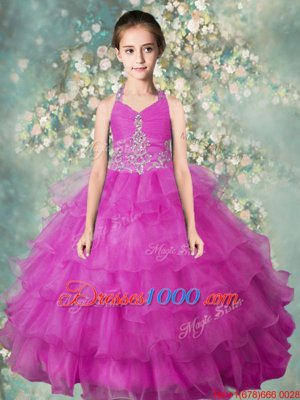Beauteous Beading and Appliques and Ruffled Layers Kids Pageant Dress Baby Blue Lace Up Sleeveless Floor Length