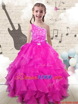 Ball Gowns Little Girls Pageant Dress Wholesale Hot Pink One Shoulder Organza Sleeveless Floor Length Lace Up